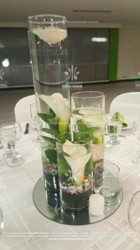 centro mesa cilindro 3 diferente tamaño velas cartuchos blanco base espejo (5)