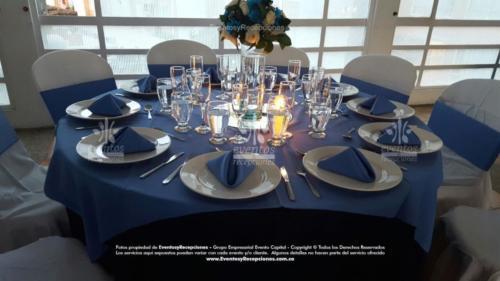 mantel base azul oscuro redondo tapa azul hortensia fajon servilleta azul hortensia  (5)
