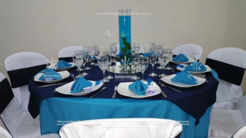 mantel base azul turqueza redondo tapa azul oscuro
