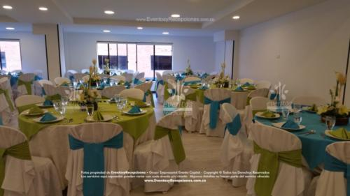 mobiliario mesa redonda forro multiusofajon azul  agua marina verde pistacho