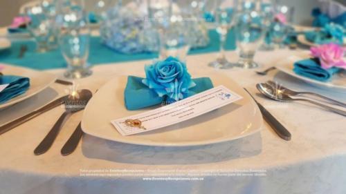 decoracion servilleta rosa azul