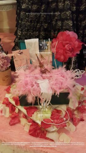 decoracion cofre tematica paris rosado